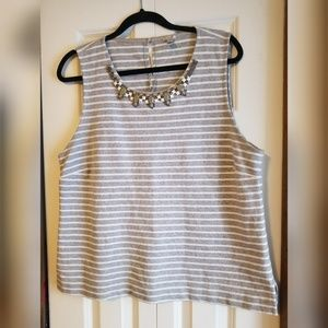 J. Crew Jeweled sleeveless grey striped top